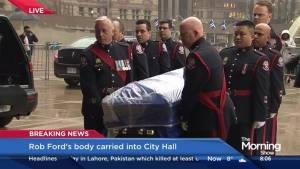 Rob Ford casket arrives at Toronto city hall to sit in repose
