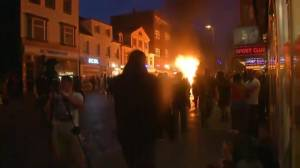 G20 protesters fuel large fires in streets of Hamburg, Germany