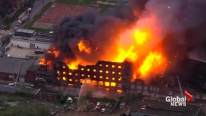 Massive fire at Philadelphia warehouse as roof collapses, power lines tumble down