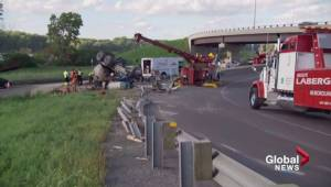 Truck driver dead after vehicle flip in Boucherville
