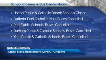 Latest school closures, bus cancellations in the Greater Toronto