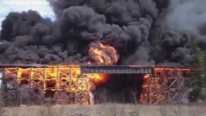 Video captures Mayerthorpe tressel bridge completley engulfed in flames
