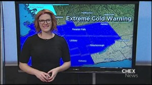Wednesday's high temperature feeling close to -30°C with windchill