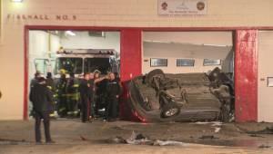 Car crash into Winnipeg fire hall sends three people to hospital