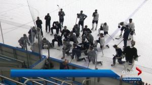 Oilers prepare for Flames at community arena practice