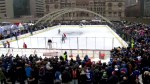 Toronto Maple Leafs hold an outdoor practice in front of fans at Nathan Phillips Square