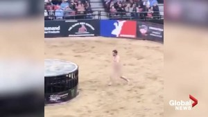 Naked streaker jumps into rodeo ring in Edmonton