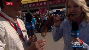 Linda Olsen takes the Calgary Stampede taste test