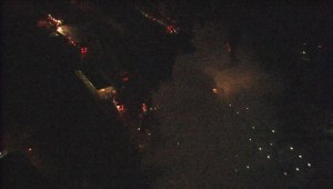 Aerial view of the sawmill fire in Vancouver