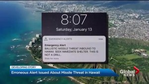 False alarm: Erroneous alert issued about nuclear missile threat in Hawaii