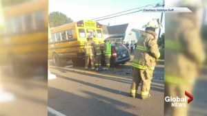 Driver seriously injured after car rear-ends school bus in Grand-Barachois, N.B.