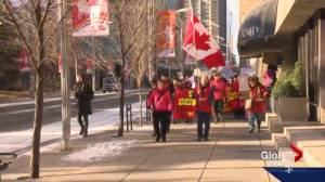 Protesters rally at Calgary City Hall ahead of Monday's vote on Chinatown development (02:12)
