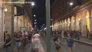People running through the streets in Nice, France after apparent attack
