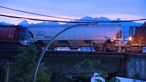 A train has partially derailed while crossing bridge over Fraser River