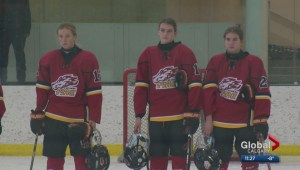 Highlights: Calgary Fire Red vs. Rocky Mountain Raiders midget AA girls hockey