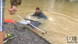 Caught on camera: Woman and her dog rescued from submerged car