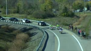 Procession carrying Cpl. Cirillo departs down Highway of Heroes