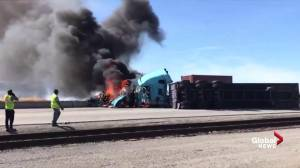 Fiery crash between two semi-trucks closes Deltaport Way