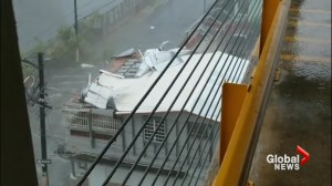 Roofs ripped off buildings in Puerto Rico as Hurricane Maria blows through