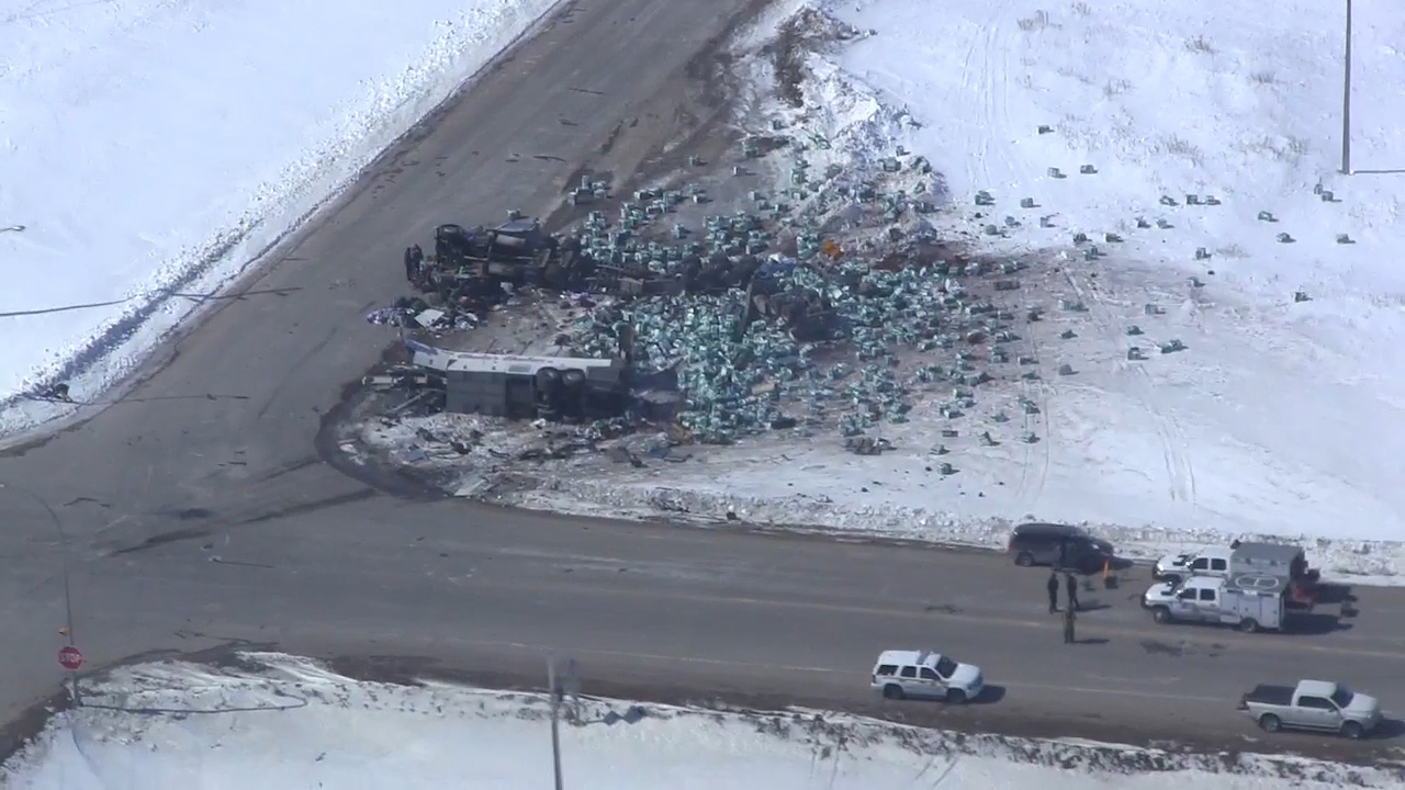 hight resolution of aerial video shows destruction at scene of humboldt broncos bus crash watch news videos online