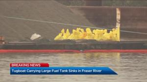 Submerged tugboat carrying large fuel tank sinks in Fraser River