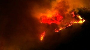 Wildfire in Ventura County, California continues to scorch land overnight