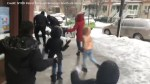 New York kids pelt police officers with snowballs