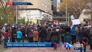 Rally held in downtown Edmonton to condemn terror attacks