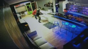 Surveillance footage of vape shop break and enter in Penticton, B.C.