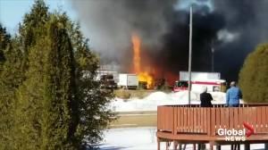 Crews battle shop fire in southwestern Ontario