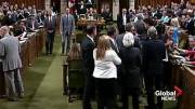 Play video: Raw: Chaos in House of Commons as PM Justin Trudeau comes into physical contact with MP