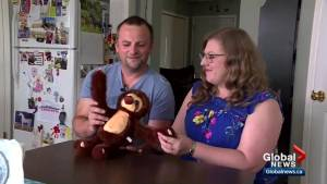 Calgary couple hopes to reunite lost stuffed sloth with owner