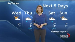 Sunshine and a high of 8 C for Wednesday, showers Thursday