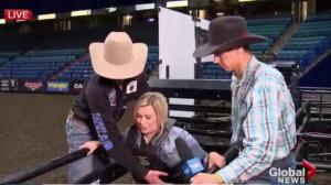 Global's Nicole Stillger on bull ahead of PBR Canada Finals