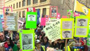 Hundreds protest in downtown Calgary during prime minister's trip to the city