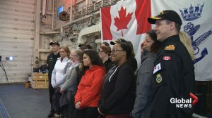 Canadian warship hosts female recruits on International Women's Day