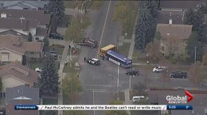 City bus and school bus collide in central Edmonton