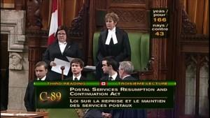 Canada Post back-to-work legislation vote passes, Senate to debate Saturday