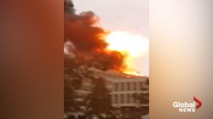 Moment of blast on rooftop of Lyon University