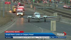 Small plane lands on a road in Calgary's Marlborough neighbourhood