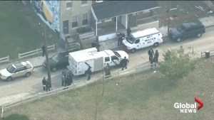 Aerial footage: Large police presence outside home in Philadelphia after four bodies discovered