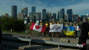 Ukrainian cycling group makes a stop in Calgary to promote peace