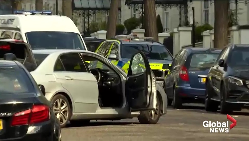 Man held for attempted murder after ramming Ukraine embassy vehicle  in London