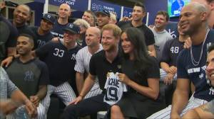 Prince Harry and Meghan watch London's first Major League Baseball match