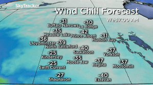 Saskatoon weather outlook: -40 wind chills move back in