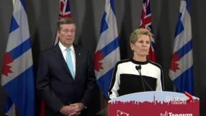 Woman disrupts meeting between Tory and Wynne, prompts talk about security at city hall (02:33)
