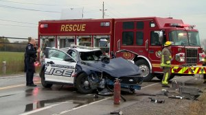 Police officer in hospital following crash involving police car, firetruck in Cambridge