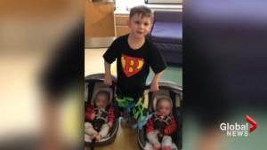 Infant newborn twins receive life-saving bone marrow transplant from big brother