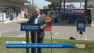 Decision Ontario: Ford promising 10-cent-a-litre reduction in gas prices