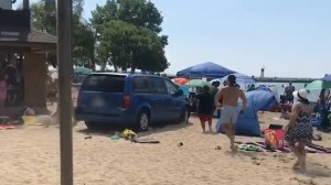 Video shows van driving on crowded Port Dover beach